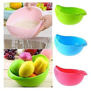 Shraddha Multicolor Plastic Rice Pulses Fruits Vegetable Noodles Pasta Washing Bowl & Strainer Good Quality (Colour May Vary)