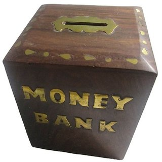 Desi Karigar Handicrafts Brown Wooden Money Bank For Kids