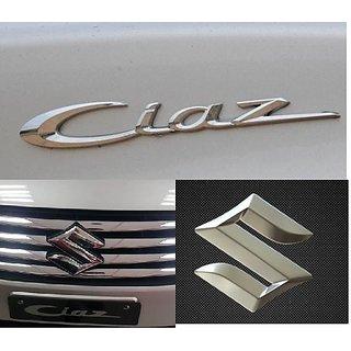 Logo MARUTI SUZUKI CIAZ Monogram Chrome Car Monogram Emblem BADGE COMPLETE PACK