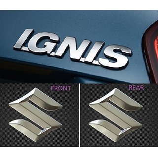 Logo MARUTI SUZUKI IGNIS Monogram Chrome Car Monogram Emblem BADGE COMPLETE PACK
