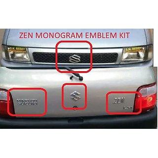 Logo MARUTI SUZUKI ZEN Monogram Chrome Car Monogram Emblem BADGE KIT