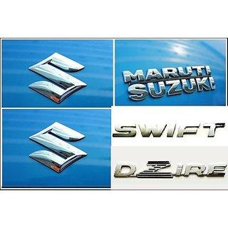 Logo MARUTI SUZUKI SWIFT DZIRE FIRST GENERATION 2008-2012 Monogram Chrome Car Monogram Emblem BADGE KIT