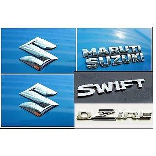 Logo MARUTI SUZUKI SWIFT DZIRE SECOND GENERATION 2012-2017 Monogram Chrome Car Monogram Emblem BADGE KIT