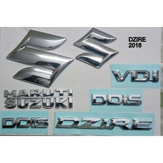 Logo MARUTI SUZUKI SWIFT DZIRE 2018 Monogram Chrome Car Monogram Emblem BADGE KIT