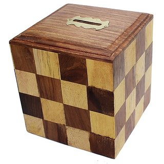 Desi Karigar Brown Wooden Money Bank