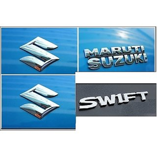 Logo MARUTI SUZUKI SWIFT 2010-2017 Monogram Chrome Car Monogram Emblem BADGE KIT