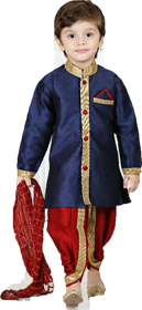 Boys Ethnic Dhoti Kurta Set Blue  Red By Cutiepie Collections