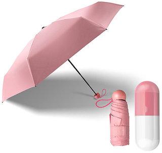Style Homez Designer Ultra Mini UV Coated 4-Fold Travel Capsule Umbrella, 100 cm Blush Pink Color