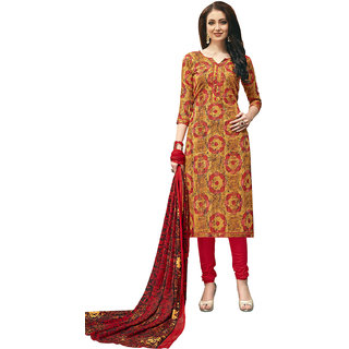 8feb1fcd87f06 Buy Swaron Yellow Cotton Printed, Kantha Unstitched Dress Material Online -  Get 76% Off