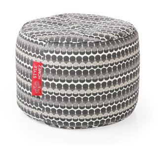 Style Homez Round Cotton Canvas Polka Dots Printed Bean Bag Ottoman Stool Large with Beans Grey Color