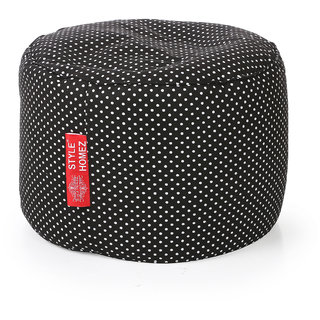 Style Homez Round Cotton Canvas Polka Dots Printed Bean Bag Ottoman Stool Large with Beans Black Color