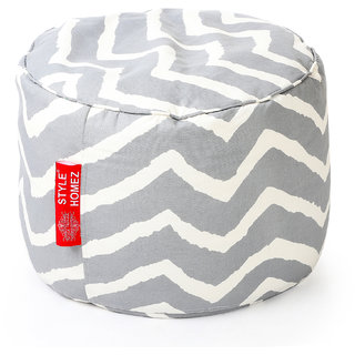 Style Homez Round Cotton Canvas Stripes Printed Bean Bag Ottoman Stool Large with Beans Grey Color