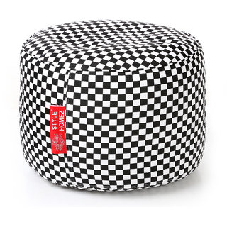 Style Homez Round Cotton Canvas Checkered Printed Bean Bag Ottoman Stool Large with Beans White Black Color