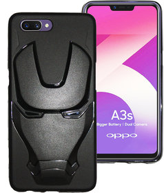 Frato Back Cover for Oppo A3S  (Iron man Black Silicon Case)
