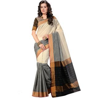 Ashika Woven  Cotton silk  Shaded Grey & Cream  Saree for Women