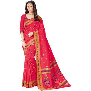 Ashika Woven Dark Pink Raw Silk Saree For Women