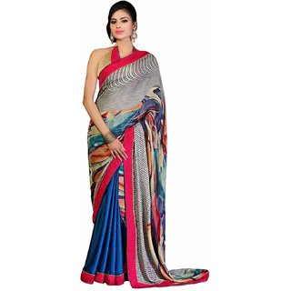 Ashika Embroidered Chiffon Fuscia & Light Blue Saree for Women