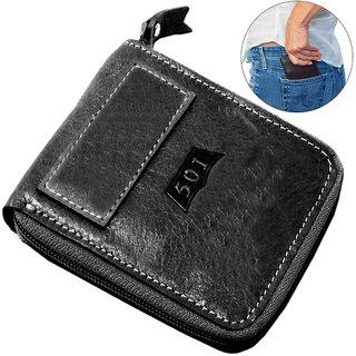 Men's Pure Leather Black Stylish Bi-fold Wallet Credit Card Holder Coin Holder Money Bag Purse Slim Size