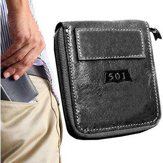 Pure Leather Black Stylish Bi-fold Wallet Credit Card Holder Coin Holder Money Bag Purse Slim Size for Men  Boys