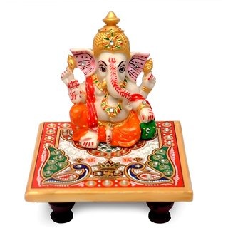 Ganesh  Crown Idol with marble Fancy Chowki with meenakari work /use in Temple/use  for home /office decoration/gift