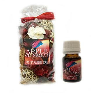 GaDinStylo Apple Cinnamon  Highly Fragrance 5oz  Potpourri Bag with 10 ml Refreshing Oil Bottle/ Air Freshener / Home Fragrance . Ideal Gift for Weddings, Spa, Meditation