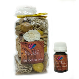GaDinStylo Rustic Sandalwood Highly Fragrance 5oz  Potpourri Bag with 10 ml Refreshing Oil Bottle/ Air Freshener / Home Fragrance . Ideal Gift for Weddings, Spa, Meditation