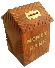 Desi Karigar Handicrafts Brown Wooden Money Bank For Kids