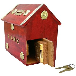 Desi Karigar Red Wooden Money Bank For Kids