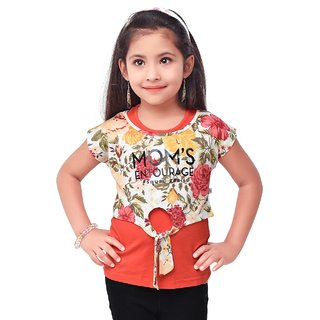 Semi Partywear western Half Sleevless for Kids Size38- Red Top by Triki