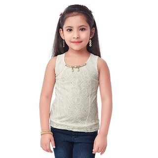 Semi Partywear western Seperat Sleevless for Kids Size36-Yellow Top by Triki