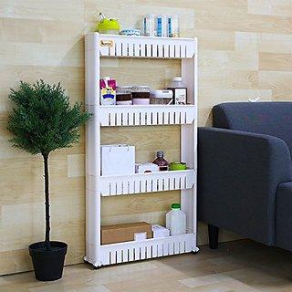 White Vertical 4 Layer Space saving Storage Organizer Rack Shelf with Wheels for Kitchen Bathroom Bedroom(54x12x100