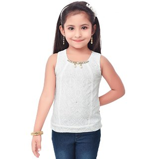 Semi Partywear western Seperat Sleevless  for Kids Size 40-Cream Top by Triki