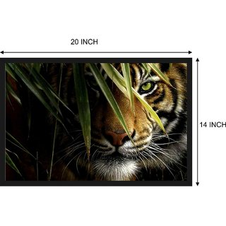 Tiger Painting Poster with Frame Gloss Lamination 14X20 Inch without Glass