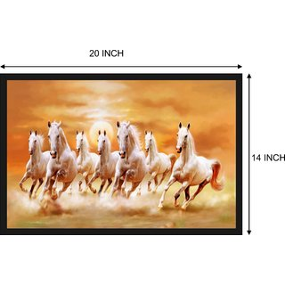 Horse Painting Poster with Frame Gloss Lamination 14X20 Inch without Glass