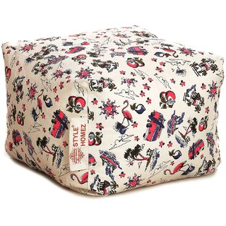 Style Homez Square Cotton Canvas Abstract Printed Bean Bag Ottoman Stool Large with Beans Multi Color