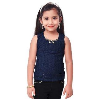 Semi Partywear western  Seperat Sleevless  for Kids Size 32- Neavy Blue Top by Triki