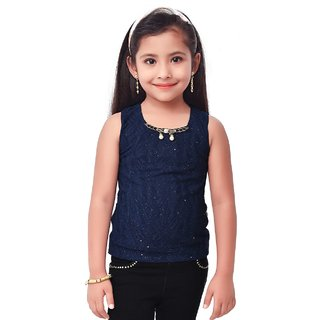 Semi Partywear western  Seperat Sleevless  for Kids Size 34- Neavy Blue Top by Triki