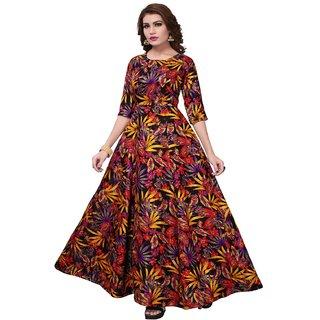 Aika Womens Banglory Satin Silk Semi-Stitched Gown (Zorba 8062 Black Flower)