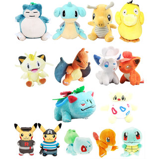 Pokemon GO Pokeball Set Of 15 Pcs. Snorlex Charmander Pikachu And Other Pokemon 10-12Cms. Soft Toy Plush Stuffed Toys