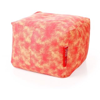 Style Homez Square Cotton Canvas Abstract Printed Bean Bag Ottoman Stool Large with Beans Red Cream Color