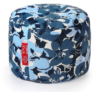 Style Homez Round Cotton Canvas Floral Printed Bean Bag Ottoman Stool Large with Beans Blue Colro