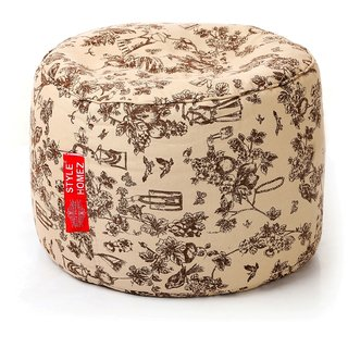 Style Homez Round Cotton Canvas Abstract Printed Bean Bag Ottoman Stool Large with Beans Caramel Color