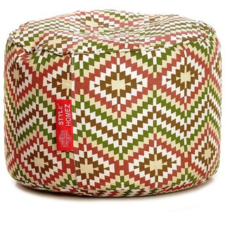 Style Homez Round Cotton Canvas IKAT Printed Bean Bag Ottoman Stool Large with Beans Multi Color