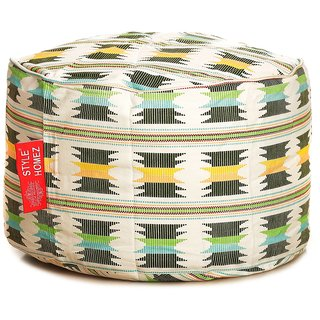Style Homez Round Cotton Canvas IKAT Printed Bean Bag Ottoman Stool Large with Beans Green Yellow Color