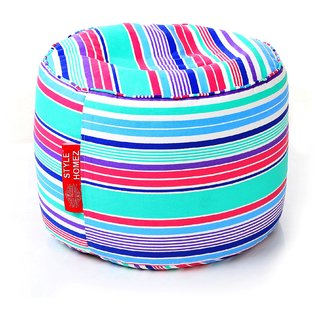 Style Homez Round Cotton Canvas Stripes Printed Bean Bag Ottoman Stool Large with Beans Multi Color