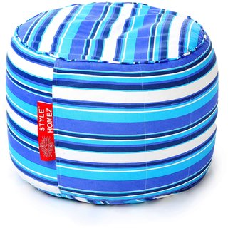 Style Homez Round Cotton Canvas Stripes Printed Bean Bag Ottoman Stool Large with Beans Blue Color