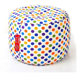 Style Homez Round Cotton Canvas Polka Dots Printed Bean Bag Ottoman Stool Large with Beans Multi Color