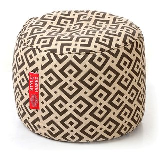 Style Homez Round Cotton Canvas Geometric Printed Bean Bag Ottoman Stool Large with Beans Brown Color
