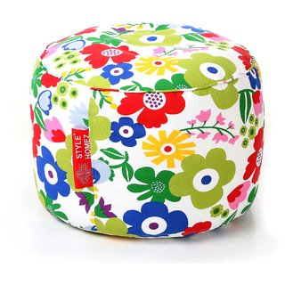 Style Homez Round Cotton Canvas Floral Printed Bean Bag Ottoman Stool Large with Beans Multi Color