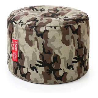 Style Homez Round Cotton Canvas Camouflage Printed Bean Bag Ottoman Stool Large with Beans Multi Color